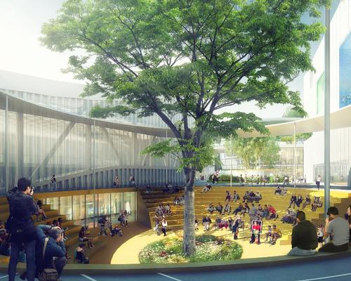 One of the volumes will feature a theatre and outdoor social space / MVRDV