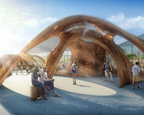 The arching piece, called Flotsam & Jetsom, will create a 1,780sq ft space at the gateway to Design Miami / SHoP Architects