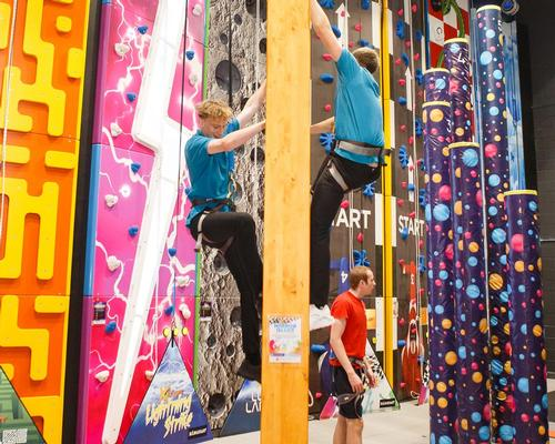The new Xheight zone, designed by Hangfast, comprises 17 separate climbing walls