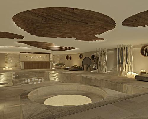 The design concept is based on snow waves and their organic shapes, which have been translated into contemporary features throughout the spa