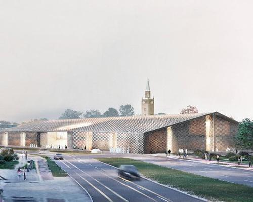 The winning concept imagines the museum as a brick house with a large gabled roof resembling a barn or warehouse / Herzog and de Meuron