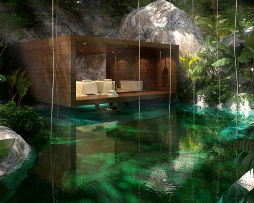 The spa features 12 single treatment rooms, one double and one spa suite – all situated around the cenote