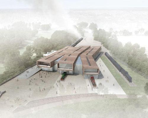 The design will see three two-storey exhibition halls constructed alongside the historic Leicester North station / WilkinsonEyre