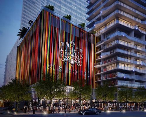 The colourful hotel is a 55-storey tower with a faceted bas relief pattern located on the bustling South Miami Avenue / sbe