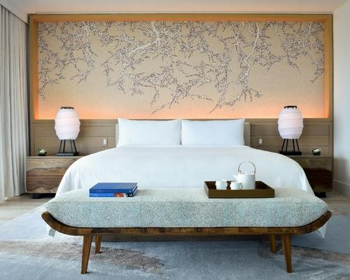 The design palette crafted by Rockwell draws upon raw, natural forms and layers of materials / Nobu Miami Beach