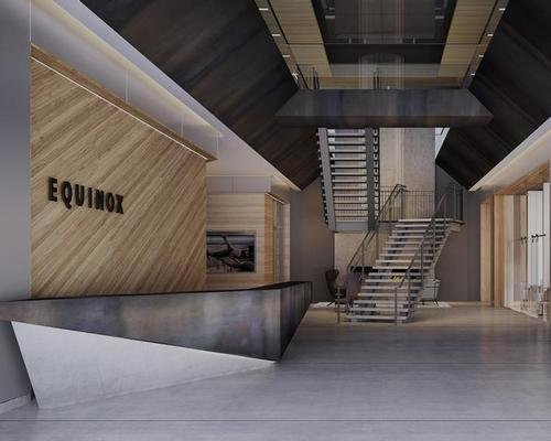 "Designed to echo ""Pacific Northwest sensibilities"", Equinox Vancouver's interior boasts bleached walnut woods, concrete floors and reflective metallics"