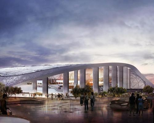 The curving roof will cover more than the stadium itself, including outdoor 'rooms' and plaza spaces designed to blur the distinction between indoor and outdoor environments / HKS