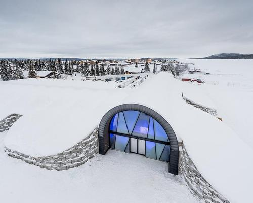 The Icehotel 365 has been erected on the site of an ice storage plant, and its icy walls will be maintained by a refrigerating plant / Icehotel