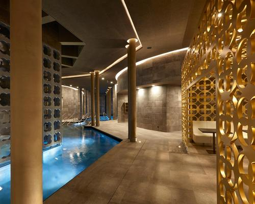 Architect Wolfgang Vanek used principles of the Golden Ratio in constructing the spa, and the geometrically pleasing format continues through the interior details