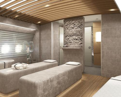 The massage room in the onboard spa in Lufthansa-Technik's new Airbus A350 VVIP interior concept