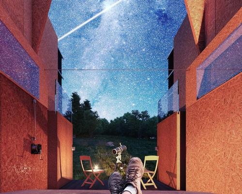 The structures will each have a retractable roof, creating 'an observatory to the heavens' for campers seeking to enjoy the changing constellations in the night sky / WG+P