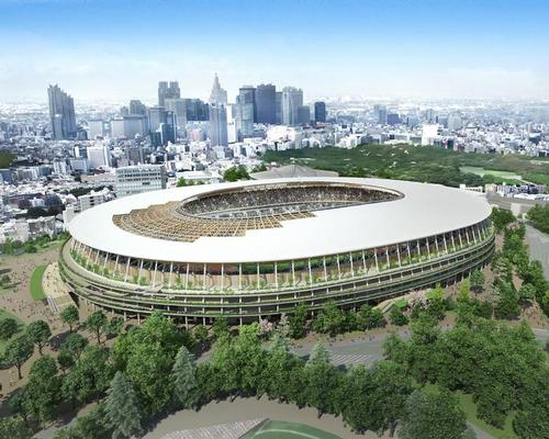 Kuma chose a wooden lattice design for the stadium that evokes traditional styles seen in 