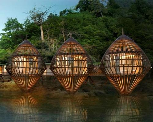 The spa's standout offering will be its five floating cocoon-shaped spa pavilions, which resemble Malay bubus. / Ritz-Carlton