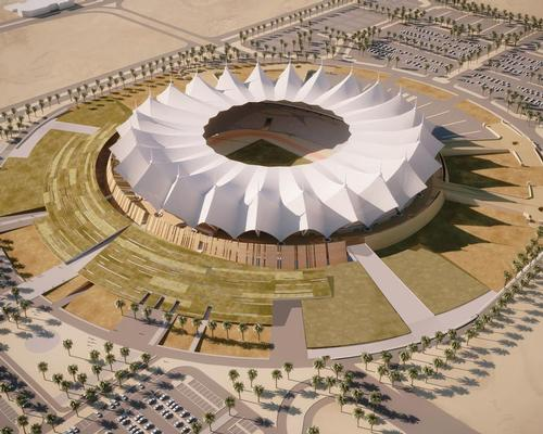A sloping surface forms a semicircle around the stadium and covers a newly-created public plaza / Schiattarella Associati