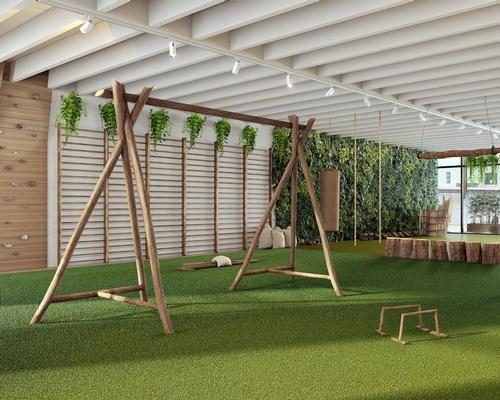 """With a brief to """"bring the outside world indoors"""", Jencks has created an environment where gym-goers can work out amid natural vegetation, colours, materials, shapes, scents and sounds. / Biofit"""