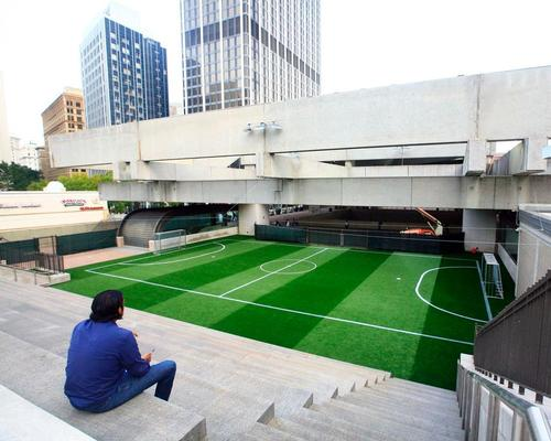 The facility has been built inside the perimeter of Five Points metro station, which serves the Metropolitan Atlanta Rapid Transit Authority / Soccer in the Streets