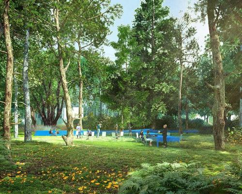 Seating areas, running tracks and sporting facilities will feature in the World of Sports campus / LOLA Landscape Architects