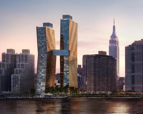 The American Copper Towers, designed by SHoP, will combine private apartments with abundant leisure amenities, including a skybridge pool / JDS Development Group