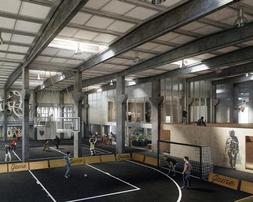 The interiors will be adapted for parkour, basketball, skateboarding, bouldering and dance / EFFEKT