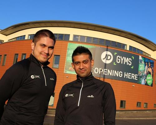 Assistant manager, Fitz Arkey, and general manager, Dhiren Varand, outside JD Gyms Birmingham