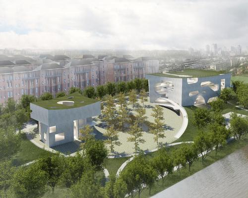 The complex will be formed of two separate buildings set in a public landscape / Steven Holl Architects