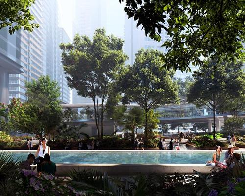 The new Taikoo Place park will provide a place of relaxation and respite for residents, office workers and the public / MIR