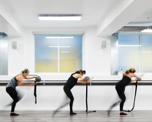 The 3,000sq ft (278sq m) club is a contemporary space for Xtend Barre's 'adrenaline-fuelled' training classes / Rory Gardiner