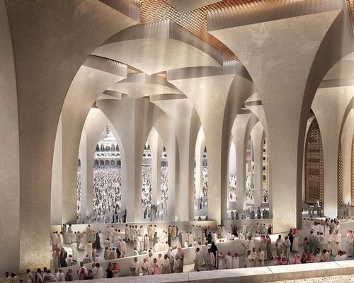 The hotel will 'create a new gateway' for pilgrims travelling between Haramain Railway Station and the Grand Mosque / Foster + Partners