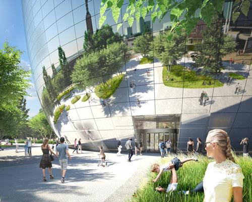 The design features a mirrored facade that will see the building 'dissolve' into the park / MVRDV