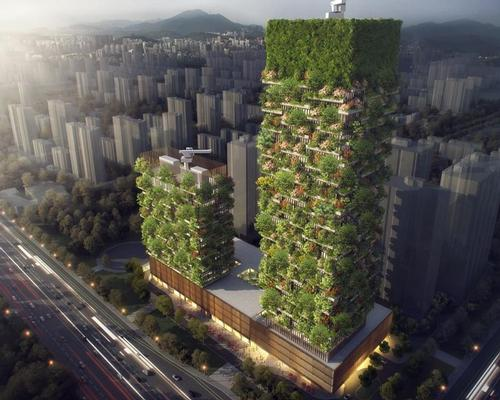 Around 600 tall trees and 500 medium-sized trees from 23 local species will line the facades of the buildings / Stefano Boeri Architetti