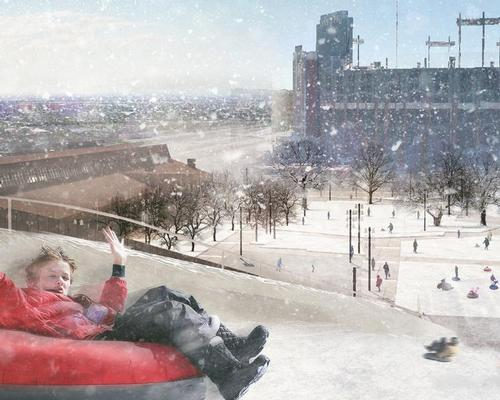The tubing lanes on the sledding hill – which can be filled with artificial ice and snow in warmer months – will stretch 300ft (91.4m) from start to finish / Rossetti