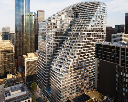 The mixed-use Collins Arch building has been designed by SHoP Architects and Woods Bagot / Marriott International