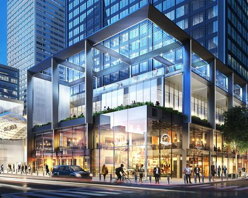 A new three-story transparent, glass structure will be set atop the existing stone plaza, offering a 'see and be seen' experience