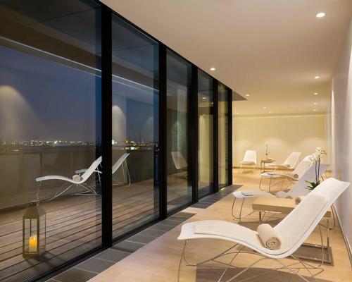 The elb spa features six treatment rooms on the upper floors of the Westin Hamburg, and has views of the spot where the port and city meet on the River Elbe