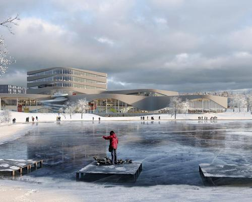 Named 'The Wave', the 24,000sq m facility will be located between Linkoping and Tinnerbäck Lake in Sweden / 3XN