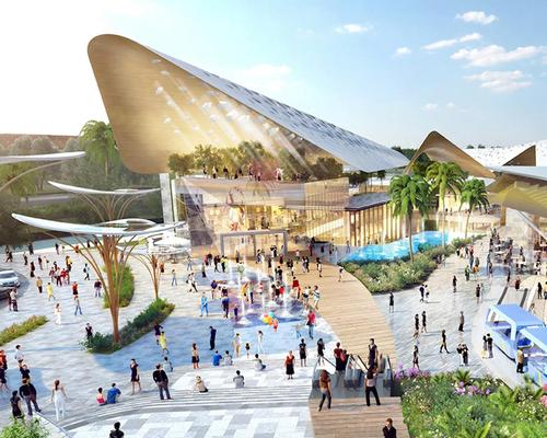 A multitude of large canopy structures, inspired by seashells in form and colour, will feature above the buildings / Benoy