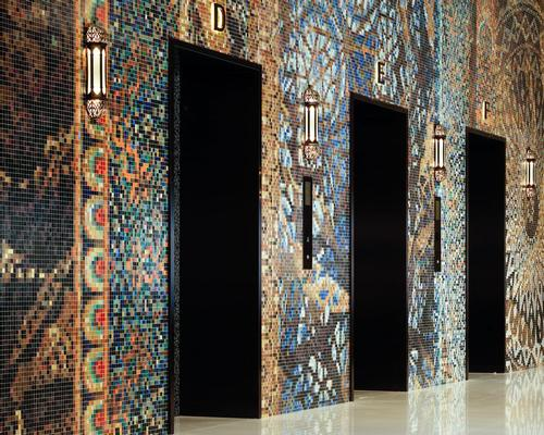 The hotel's public spaces feature patterned carpets, ornate stained glass, intricate mosaic tiling and full mosaic wall / Marcel Wanders