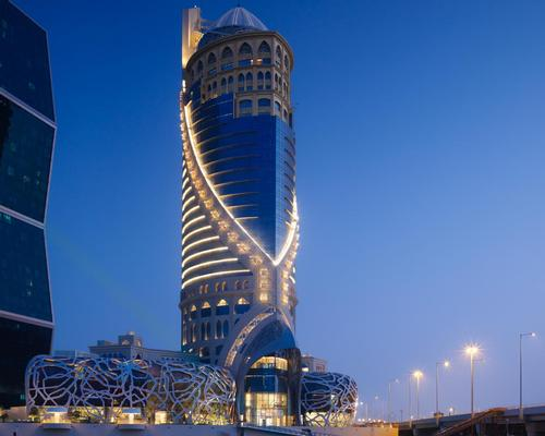 The hotel has been designed loosely in the shape of a falcon – Qatar's national bird / sbe