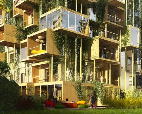 The ground floor apartments will be extended outwards, using modular prefabricated boxes built from bio-sourced natural wood and attached to the existing façade / Malka Architecture