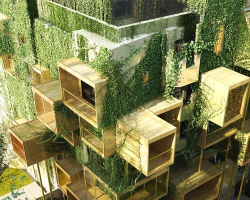 Each differently-sized wooden cube allows for two levels of extension – one covered interior space, and one interstitial terrace / Malka Architecture