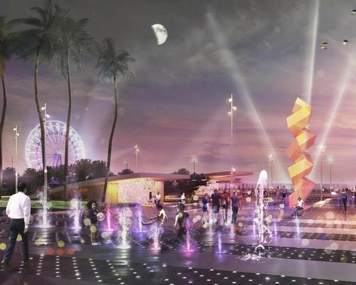 Attractions, lighting elements and water features will line the promenade / Lemay/v2com