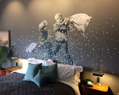 Work by Banksy and other artists, a themed bar and interactive exhibits all feature in the Walled Off Hotel / Twitter.com/Twitter user Emma Graham-Harrison