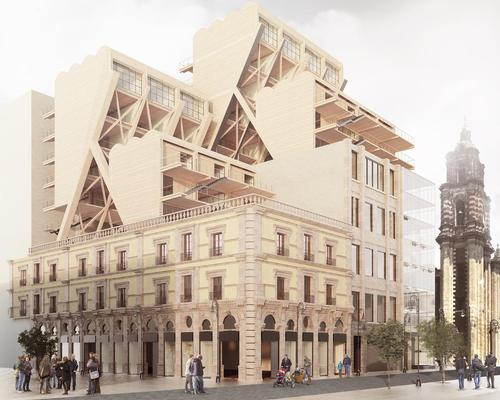 Competition entrants had to design a wooden extension to an existing urban building from one of 69 cities / Plan B