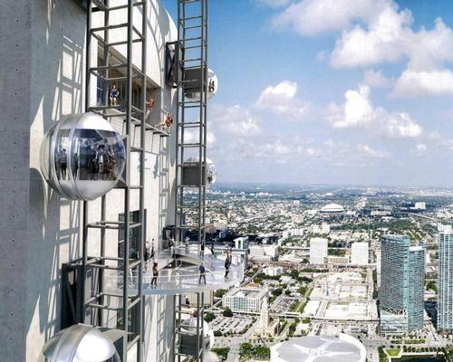 The observation pods will cimb as high as 1,000ft, offering one-of-a-kind views of the city of Miami