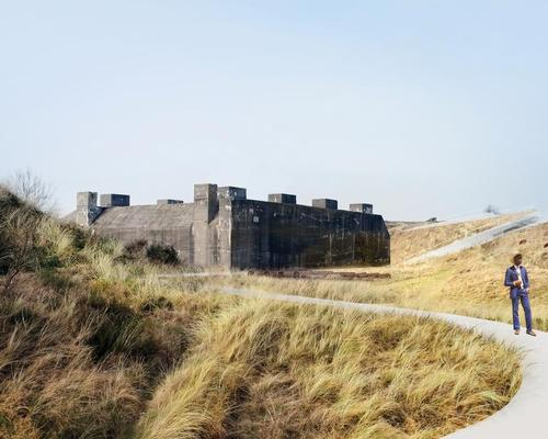 The architectural 'absence' in the dunes corresponds with the physical and symbolic block in the landscape formed by the bunker / BIG