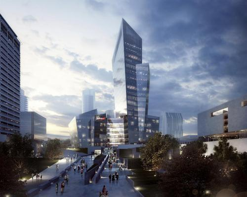 Public realm will be created around the 18-storey k18b tower, as well as being integrated into its internal spaces / Studio Libeskind