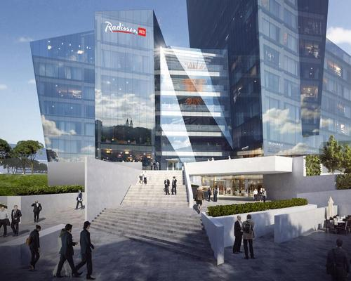 A Raddison Red hotel will feature, along with restaurants, shops and green spaces / Studio Libeskind