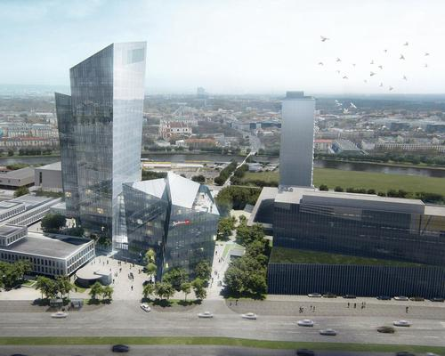 The project is located on the right bank of the River Neris in Vilnius / Studio Libeskind