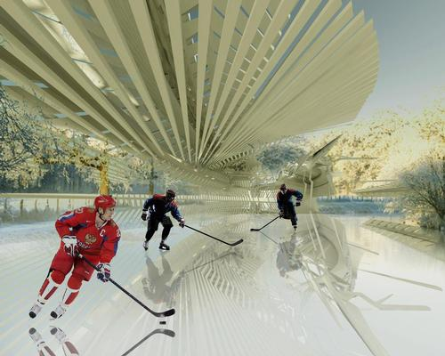 The 'Liquid Skating Photovoltaic Ice Skating Rink' will be located high in the mountains of the Kamchatka peninsula / Margot Krasojevi?/V2com