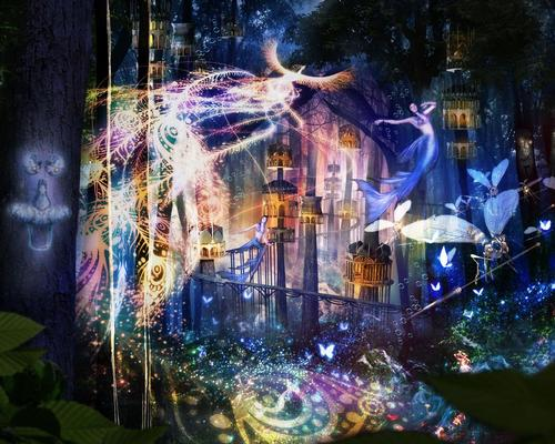 The Night Walk Hi no Tori trail will be explored from sunset to approximately 10pm each night, with visitors experiencing a visual show created by Tezuka Productions using projection mapping to beam sounds and sights into the forest / Tezuka Productions